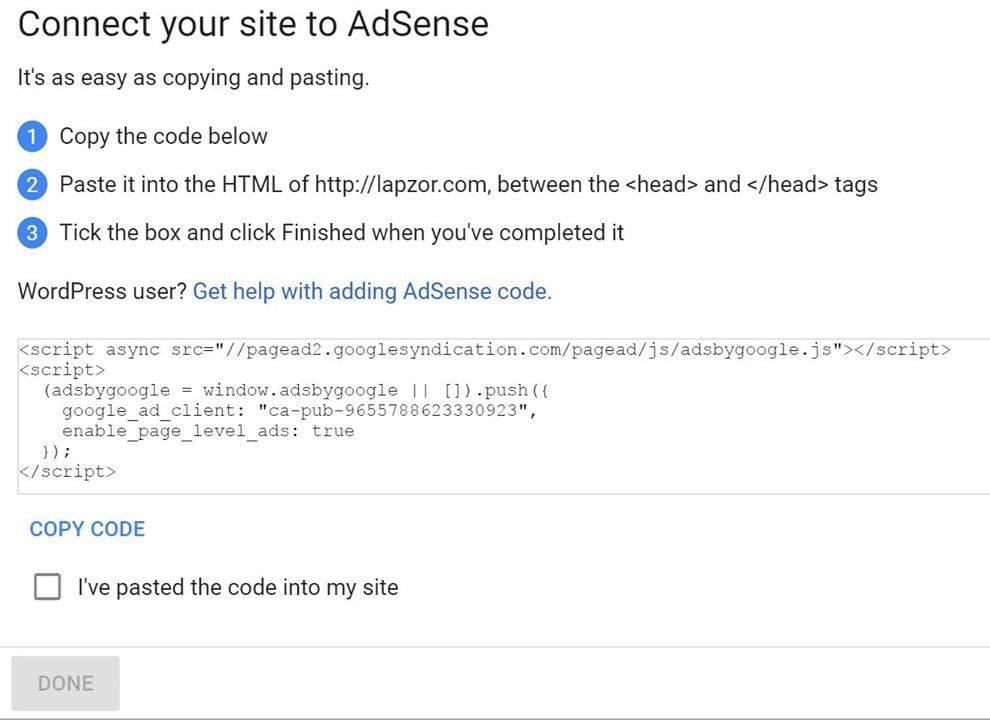 Connect Adsense